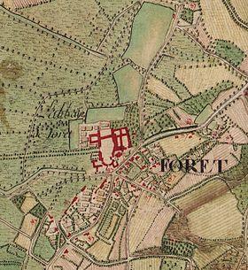 Forest mentionné dans la carte de Cassini. On y distingue nettement le centre autour de l'Abbaye et les quelque habitations autour....