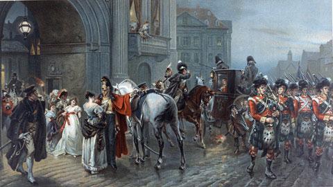 Au matin du 16 juin 1815, les soldats partent pour rejoindre la bataille de Quatre Bras... (Peinture de  Robert Alexander Hillingford)